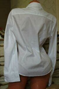 austin reed white  cotton semi fitted blouse