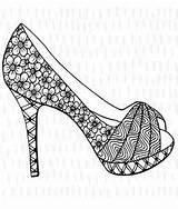 Coloring Adult Heel Heels Shoe Printable Pumps Adults Colouring Stiletto Stilettos Fancy Loafers Embroidery Printables Recolor Oeffnen Bd sketch template