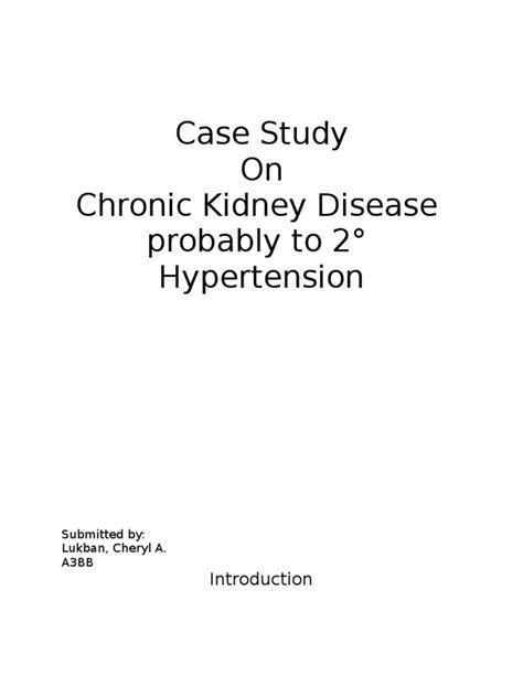Case Study on Chronic Kidney Disease probably to secondary hypertension | Chronic Kidney Disease