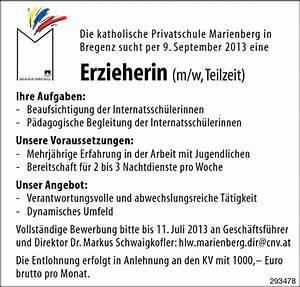 Teilzeitgehalt Berechnen : erzieherin bregenz jobs in vorarlberg ~ Themetempest.com Abrechnung
