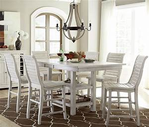 Willow, Distressed, White, Rectangular, Counter, Height, Dining, Room, Set, P820