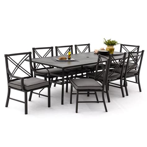 outdoor rectangular table and chairs audubon 9 piece aluminum patio dining set with 6 side