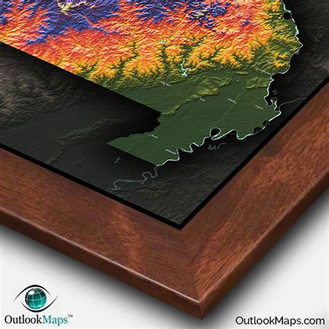 missouri colorful topography physical map  natural