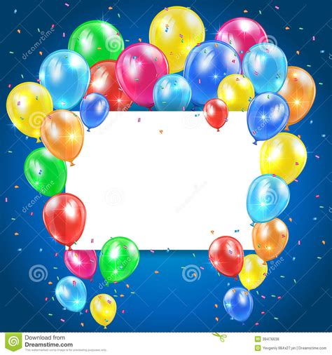 balloons  blue background  card stock vector image