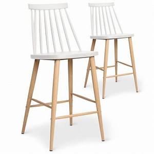Chaises De Bar Scandinaves : chaises de bar scandinaves gunda blanc lot de 2 pas cher scandinave deco ~ Teatrodelosmanantiales.com Idées de Décoration