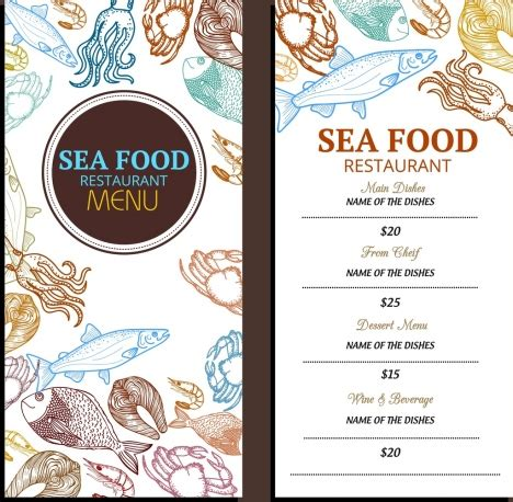 modern seafood restaurant cafe brochure menu template