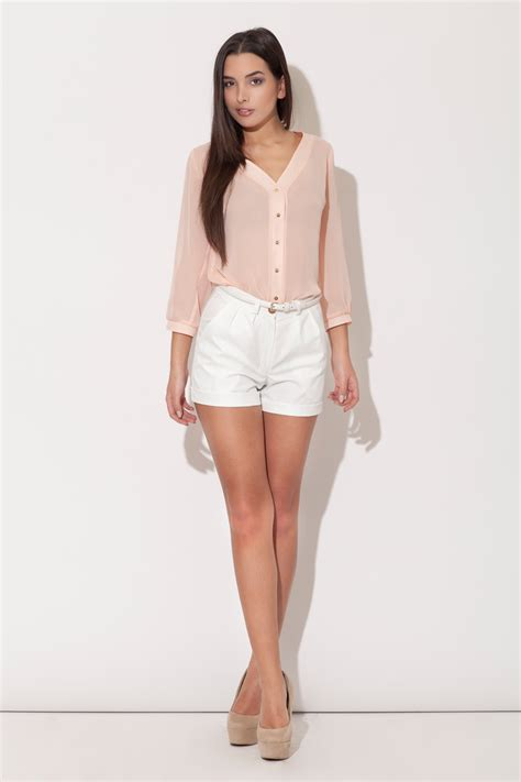 plunging neckline blouse pink plunging v neckline blouse with metallic buttons