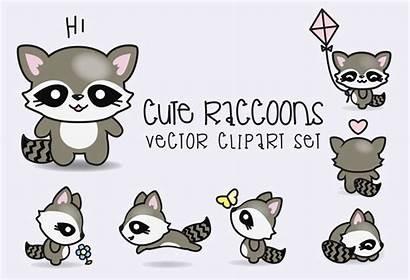 Kawaii Clipart Vector Raccoons Premium Clip Vectors