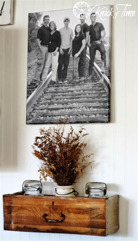 repurposed drawers  wall shelves knick  time