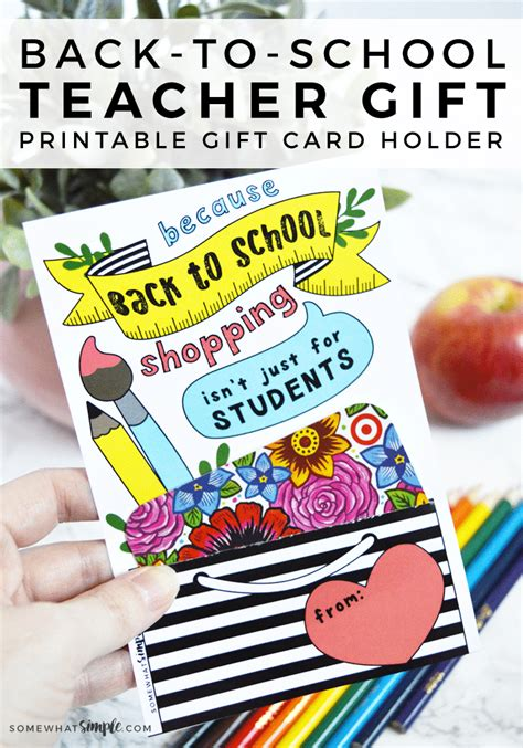 list of gifts to school children gifts back to school gift card printable