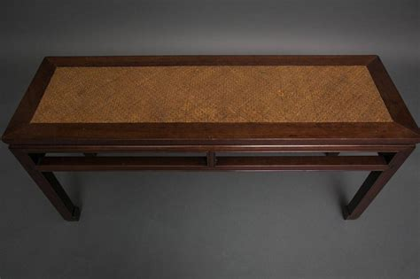 Rosewood Chinese Long Table With Woven Bamboo Top For Sale