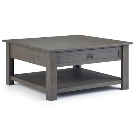 "Yaheetech grade e1 coffee table with storage compartment Simpli Home Monroe 38"" Square Storage Coffee Table in Farmhouse Gray 840469040656 | eBay"