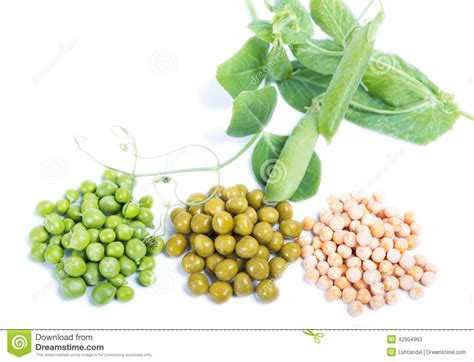 types of peas three types of green peas raw canned and dry stock photo image 42904963