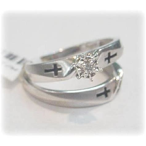 christian cross wedding ring gold 10k