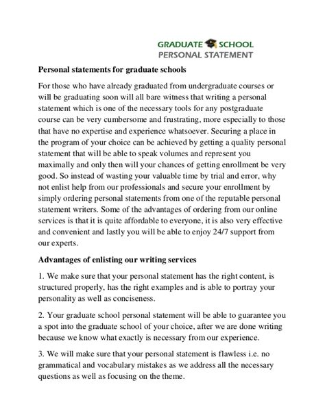 professional help with graduate school personal statement