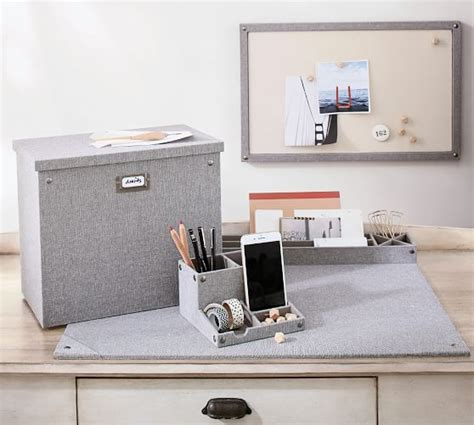 pottery barn desk accessories gray blythe linen desk accessories small organizer