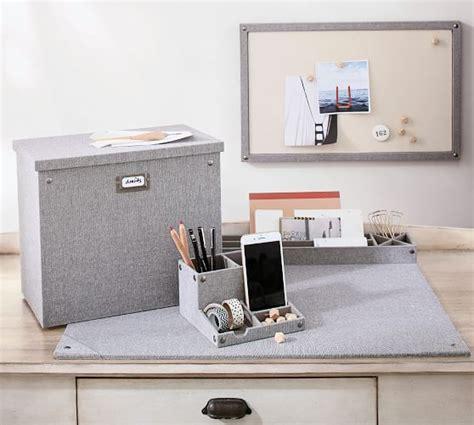 pottery barn desk organizer gray blythe linen desk accessories small organizer