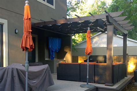 attached trex pergola  airflow mesh shadetree canopies