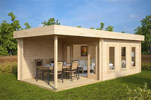 modernes gartenhaus mit terrasse jacob e 12m2 44mm 3x7 With gartenhaus mit terrasse