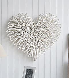 large chunky white wood twig heart wall decor cottage