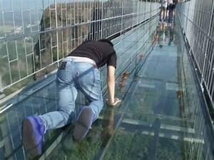 Raw: Tourists Brave Glass-Bottom Bridge - YouTube