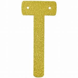 glitter letter banner garland 6inch gold letter t With gold letter garland