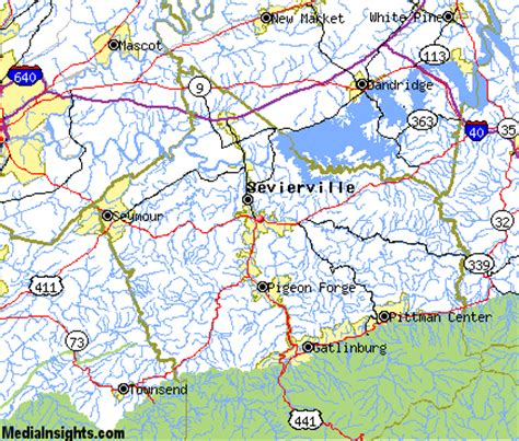 Image result for map sevierville tennessee