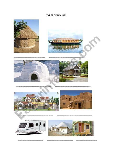 types  houses esl worksheet  amit