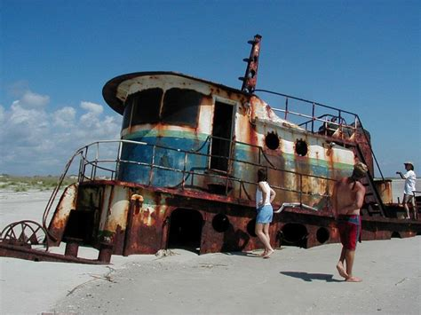 Tugboat Ga by Shipwrecked Tugboat On Little Saint Simons Island Beach