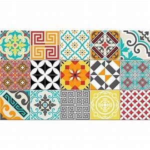 Stickers Imitation Carreaux De Ciment : tapis vinyle carrelages mixtes 60 x 100 cm stickers ~ Melissatoandfro.com Idées de Décoration