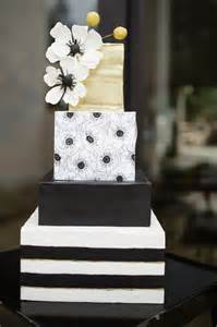wedding cake bakeries an amazing fourtier square cake featuring black and white stripes a floral print and sugar