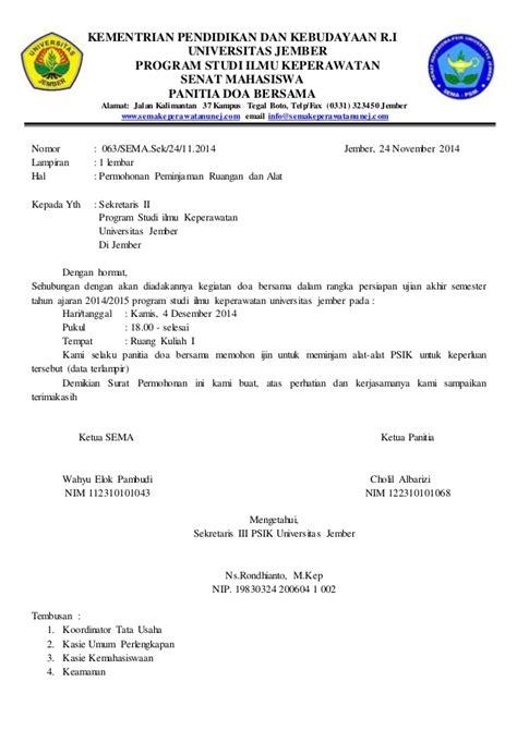 Contoh Format Surat Untuk Meminta Sponsor by Contoh Surat Peminjaman Ruang
