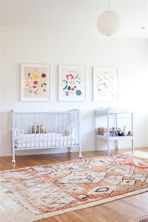 Nusery Rugs by Light Filled Bohemian Nursery And Playroom Glitter Inc