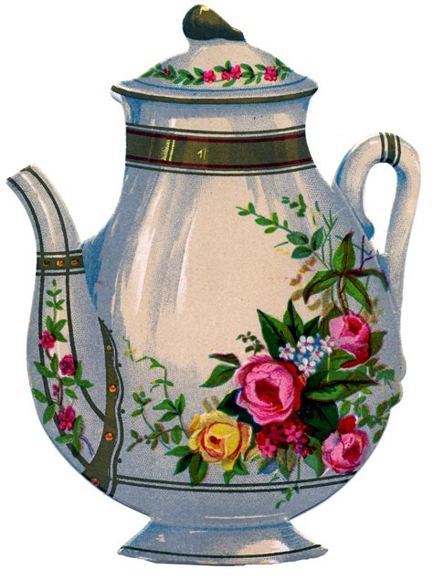 victorian graphic floral ironstone teapot  graphics