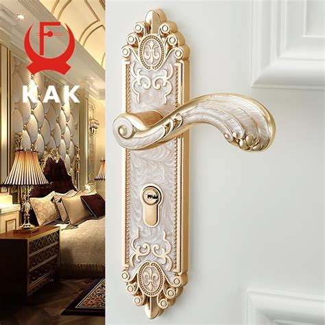 kak european style mute room door lock handle fashion interior door knobs lock luxurious anti