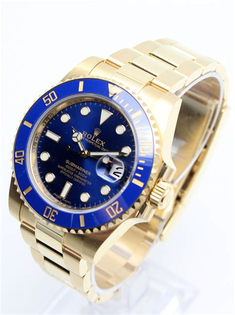 Rolex Submariner 18k Yellow Gold Blue Dial 116618LB ...