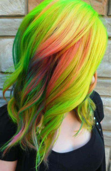 green yellow multi color dyed hair color attheunicorntribe