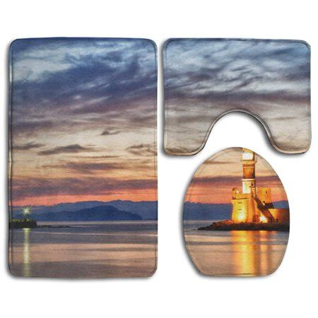 Lighthouse Bath Rugs by Chaplle Sunset Lighthouse 3 Bathroom Rugs Set