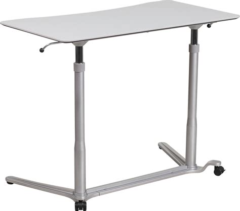 desk that goes up and down sit down stand up light gray computer desk w 37 5 quot w top