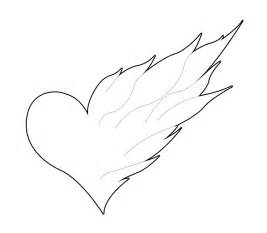 Heart with Flames Drawings