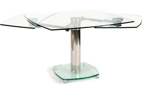 table carrée avec allonges plateau verre transparent