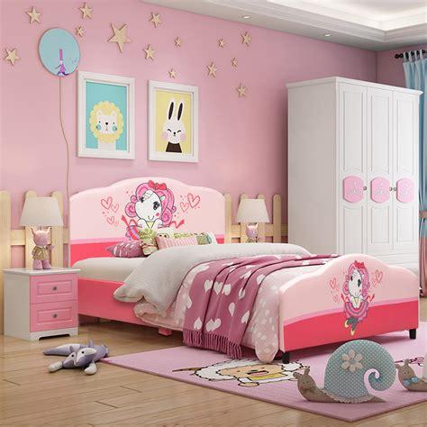 costway children upholstered platform toddler bed