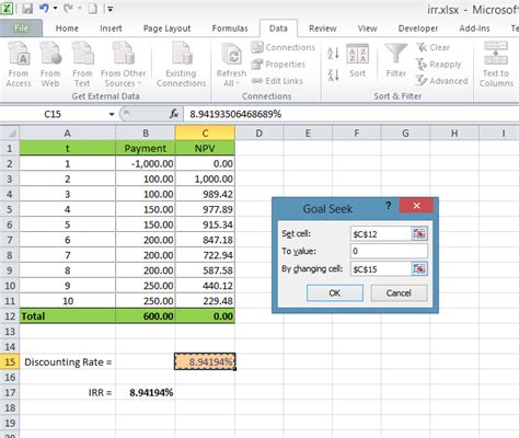 calculating internal rate  return irr  excel