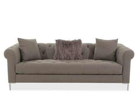 transitional tufted  sofa  gray mathis brothers
