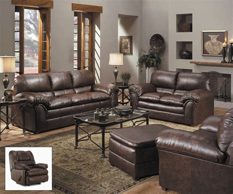 leather sofa set for living room geneva classic brown bonded leather living room furniture