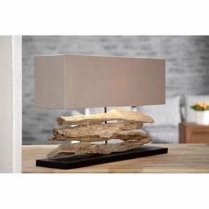 Lampe Chevet Bois Flotté : lampe bois flott naturel beige novea achat vente lampe bois flott novea bois tissu lin ~ Teatrodelosmanantiales.com Idées de Décoration