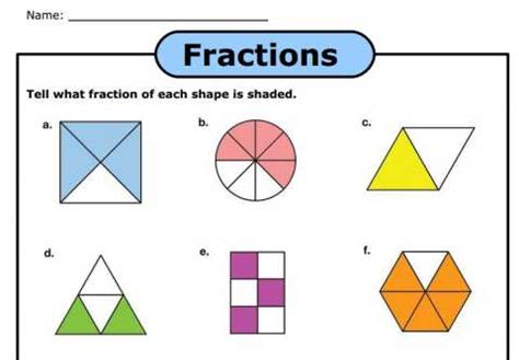 Shaded Shapes And Fractions  Educational Resources And More