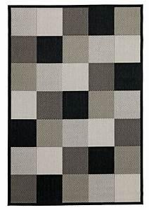 Vloerkleed Rips 160x230 Zwart  Beige