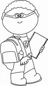 Black and White Boy Superhero Going to School Clip Art ...