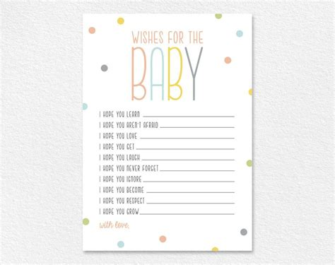 wishes  baby  wishes printable shower wishes